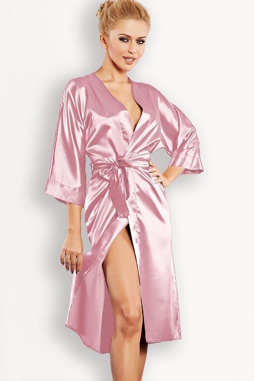 DKaren Luxurious Rouge Satin Robe