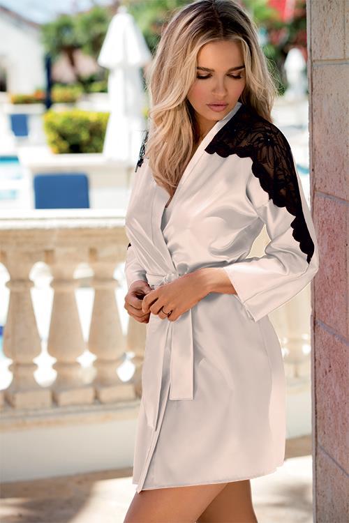 DKaren Matilda Satin Robe with Lace Embellishments
