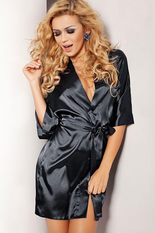 DKaren Tina Luxurious Black Satin Robe