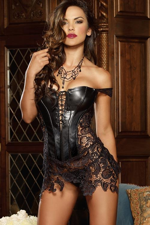 Dreamgirl Beyoncé Faux Leather and Venice Lace Corset with Thong