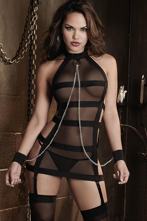 Dreamgirl Black Sheer Chemise with G-String & Restraints