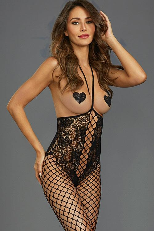 Dreamgirl New Wave Open-Bust Fishnet Bodystocking