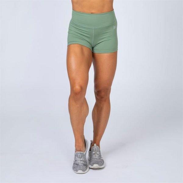 HBxMN High Waist Scrunch Shorts - Olive Green - M