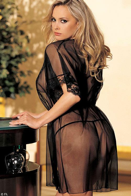 Hot by Shirley Luxurious Black Silky Sheer Robe