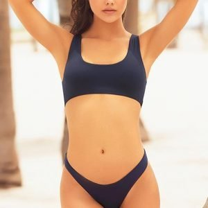 Mapale Swim & Beachwear Bold Basics Navy 2 Pce Crop With Brazilian Thong