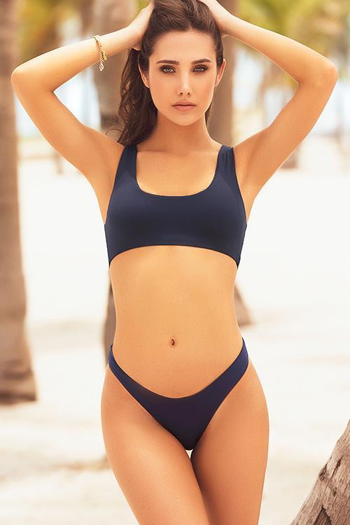 Mapale Swim & Beachwear Bold Basics Navy 2 Pce Crop With Brazilian Thong