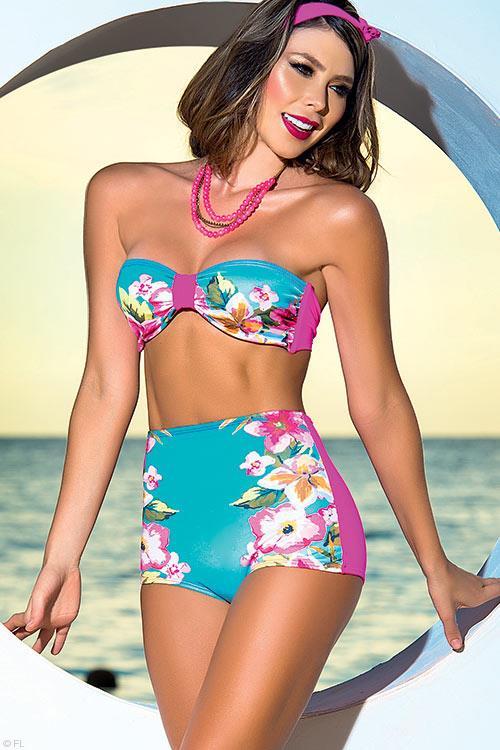 Mapale Swim & Beachwear Retro Inspired Bikini with Halter Strap