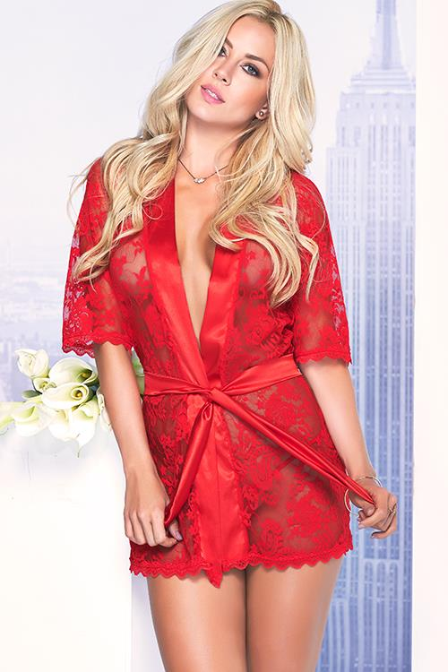 Mapale by Espiral Chic Essential Red Lace Robe with G-String