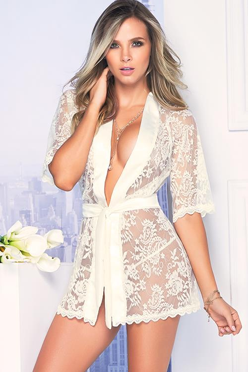 Mapale by Espiral Chic Essential White Lace Robe With G-String