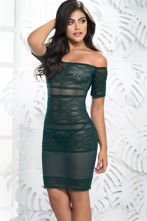 Mapale by Espiral Green Goddess Off-The-Shoulder Chemise