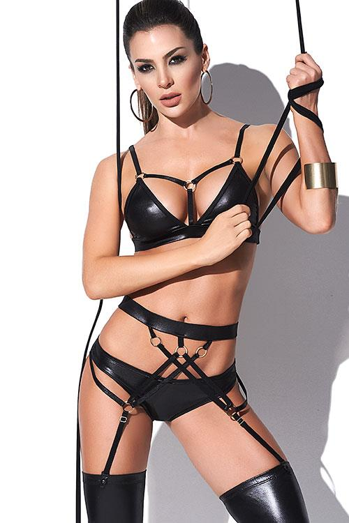 Mapale by Espiral Strappy Pursuit Wet-Look Bra Set