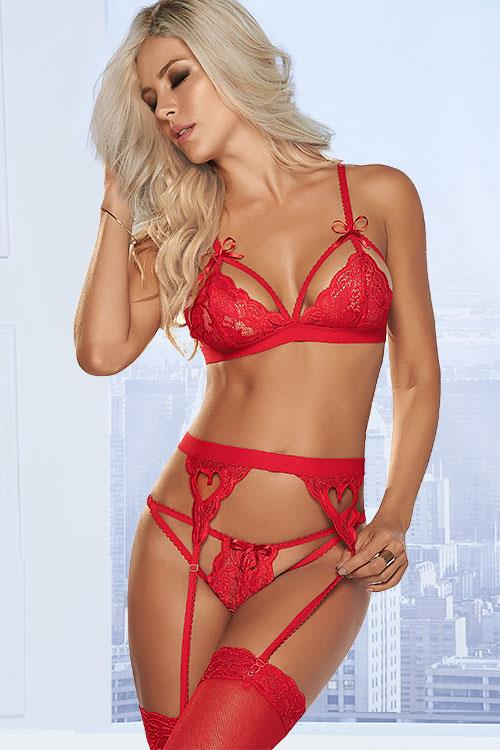 Mapale by Espiral Wild Love Red Bra with Garter Belt & Thong