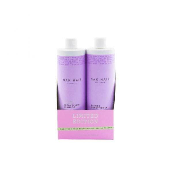 Nak Platinum Blonde Anti-Yellow Shampoo and Conditioner 500ml Duo Pack
