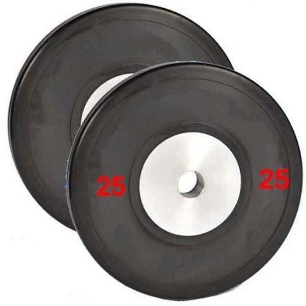 Pair of 25kg Black Elite Bumper Plate
