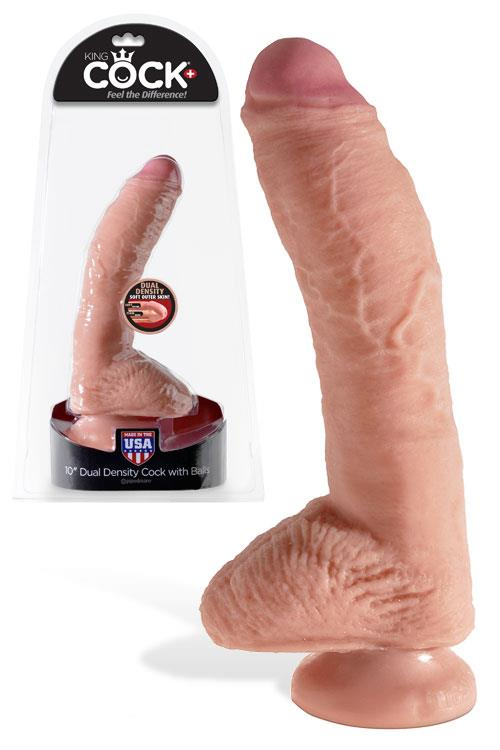 """Pipedream Dual Density 10"""" Realistic Cock & Balls with Suction Cup"""