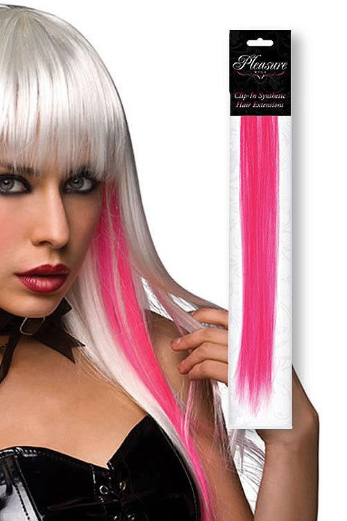 Pleasure Wigs Neon Pink Coloured Clip-In Synthetic Hair Extension