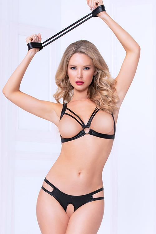 Seven Til Midnight Bold Lustre Open-Cup Bra with Crotchless Thong & Cuffs