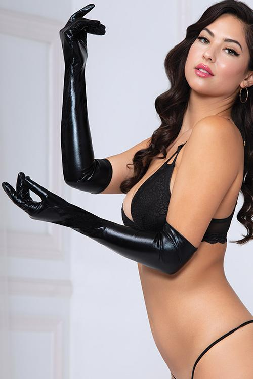 Seven Til Midnight Bold Lustre Wet-Look Opera Gloves