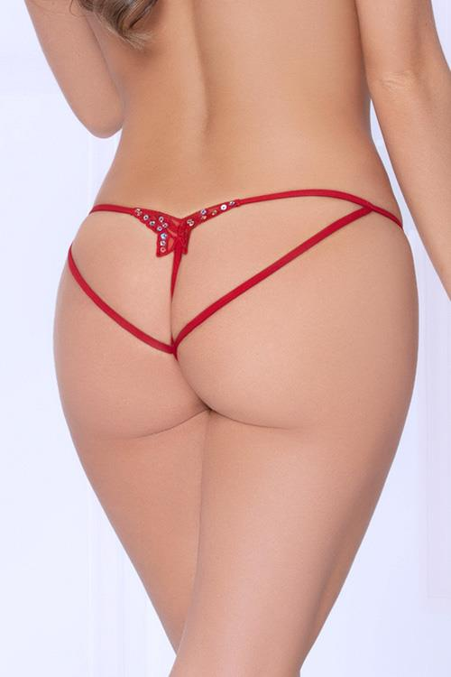 Seven Til Midnight Cheeky Secrets Red Butterfly Crotchless Thong