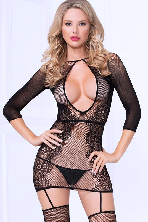 Seven Til Midnight Perfect Catch Fishnet Bodystocking with Thigh Highs