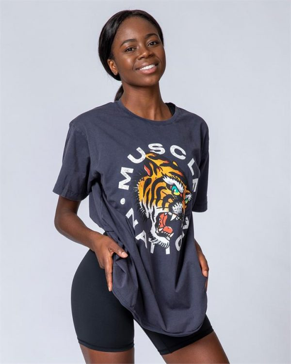Womens Oversized Vintage Tee - Tiger - S