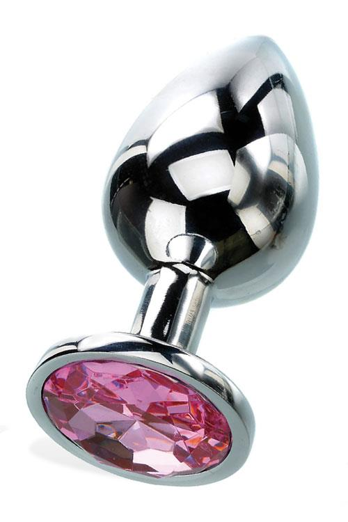 """Adam and Eve 2.8"""" Metal Butt Plug With Faux Jewel Base"""