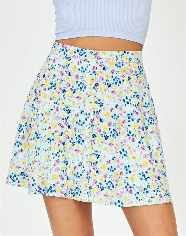 Button Down Floral Mini Skirt
