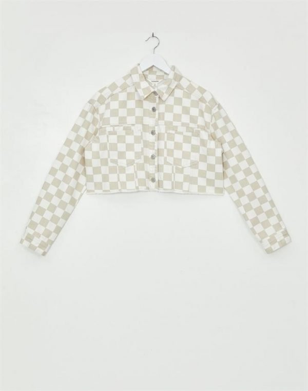 Check Cropped Denim Jacket