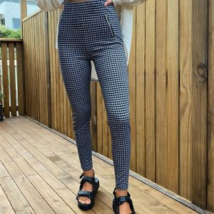 Check Zip Front Ponte Pant