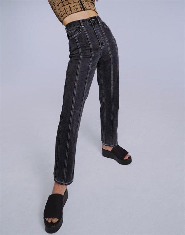 Contrast Stitch Panelled Jean