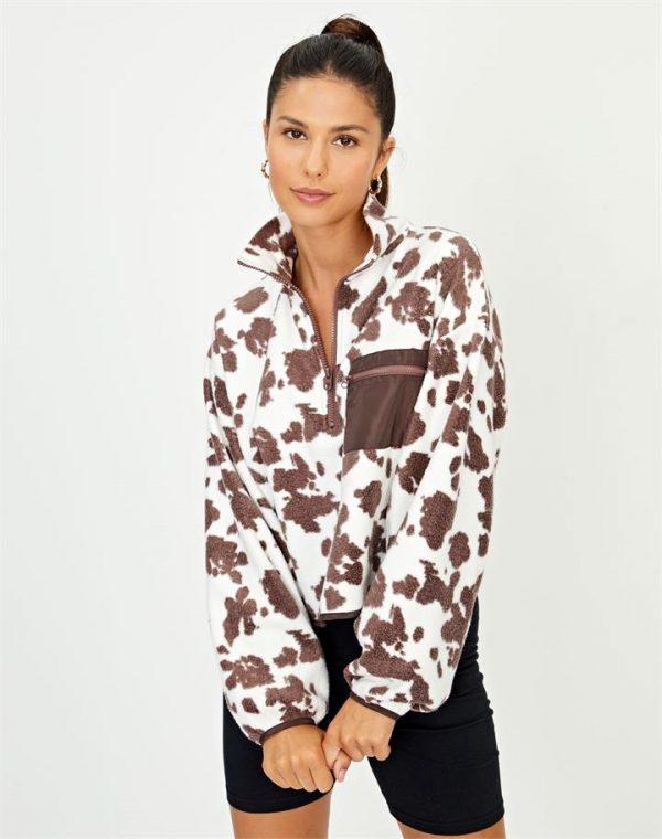 Cow Print Cropped Funnel Neck Fleece Jacket