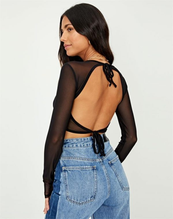 Cropped Mesh Cut-Out Top