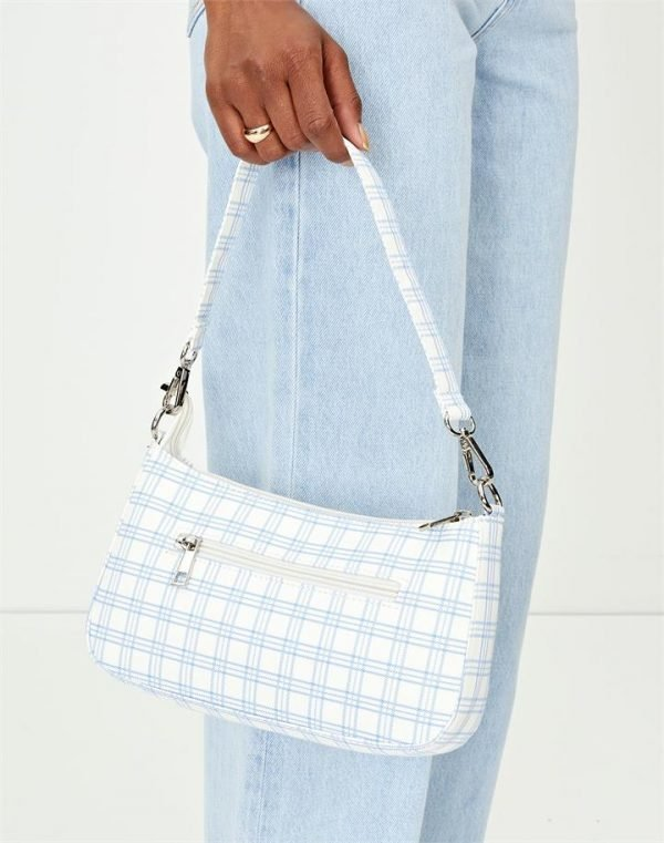 Double Strap Check Shoulder Bag