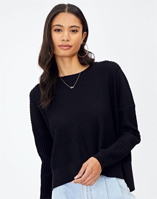 Drop-Hem Rib Knit Jumper