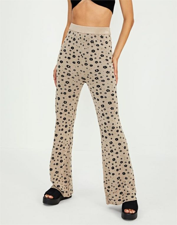 Floral Knit Flare Pant