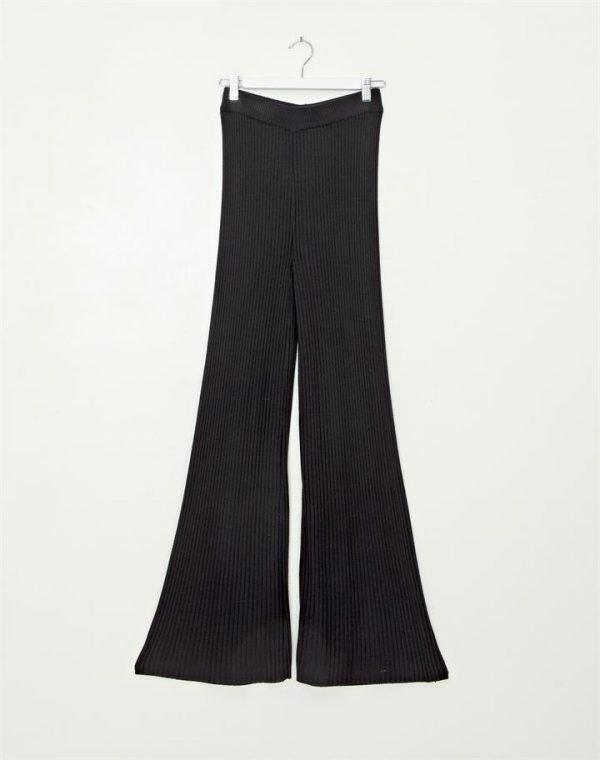 High Waist Ribbed Flare Pant