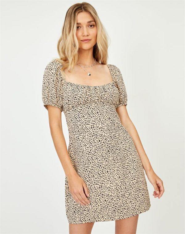 Leopard Puff Sleeve Mini Dress