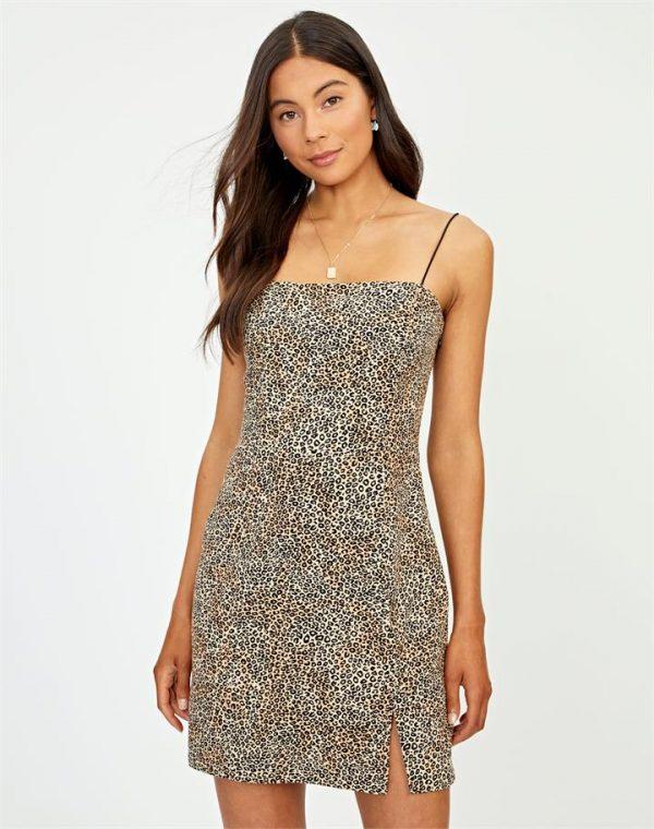 Linen Blend Animal Mini Dress