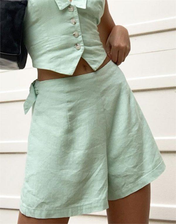 Linen Blend Buckle Short