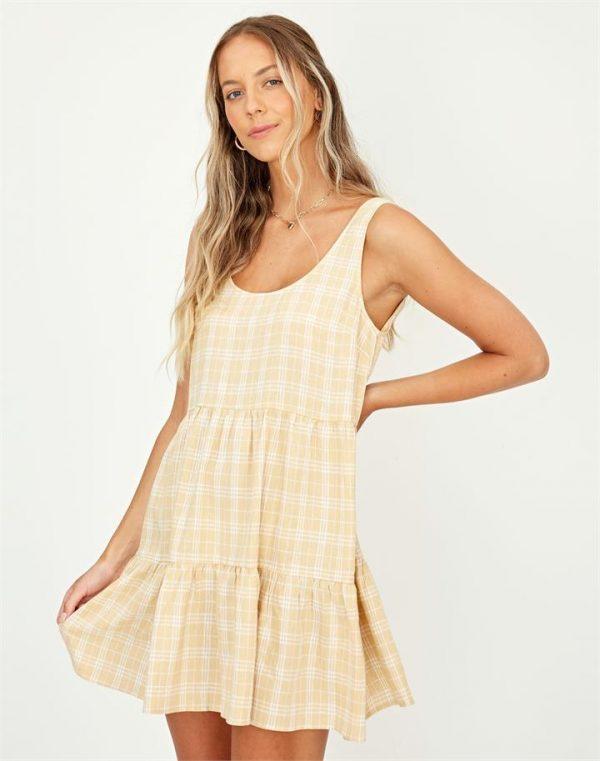 Linen Blend Check Mini Dress