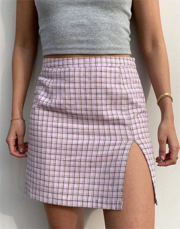 Linen Blend Check Side Split Mini Skirt