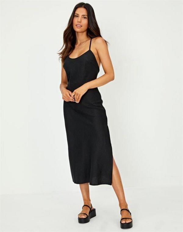 Linen Blend Cross Back Midi Dress