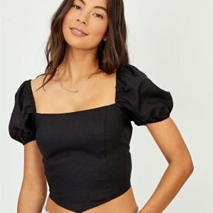 Linen Blend Cross Back V Top