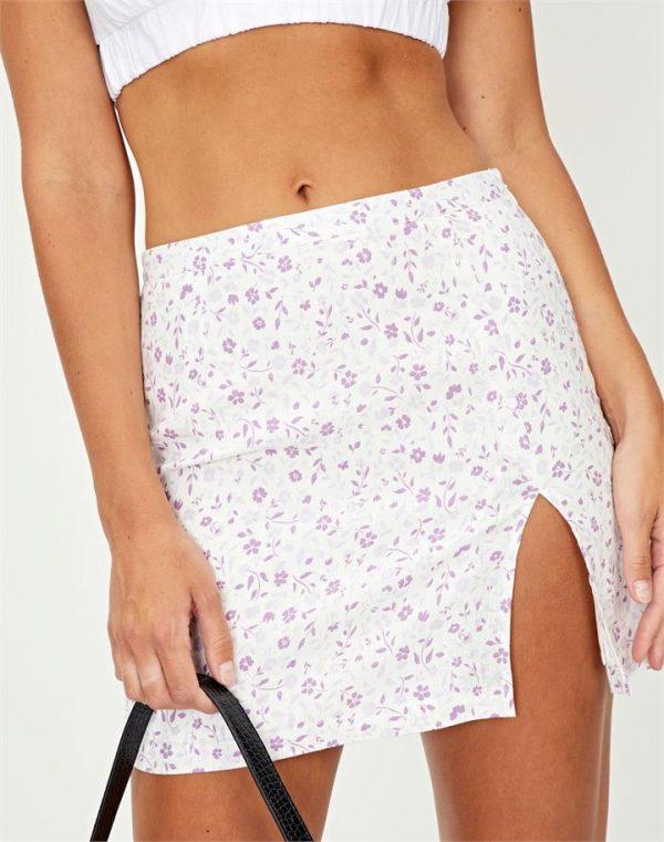 Linen Blend Floral Mini Skirt