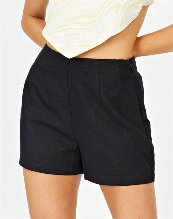 Linen Blend High Waist Short