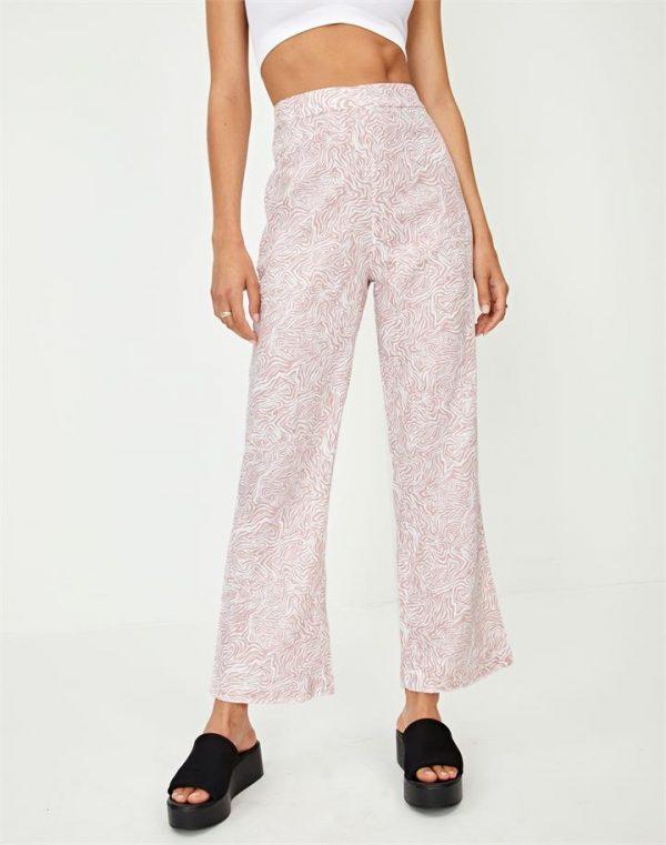 Linen Blend Printed Crop Pant