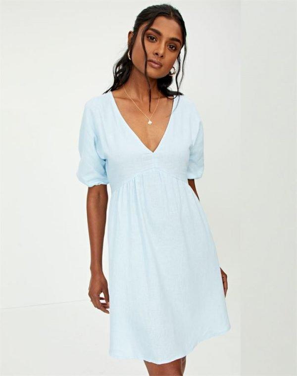 Linen Blend Puff Sleeve Babydoll Dress
