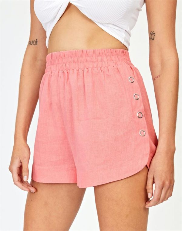 Linen Blend Side Popper Short