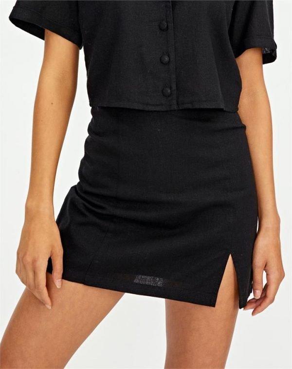 Linen Blend Side Split Skirt