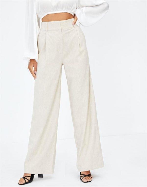 Linen Blend Tailored Wide Leg Pant